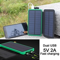 20000mAh Portable Foldable Solar Panel Power Bank Battery Fast Charger 2 USB Waterproof LED Outdoor Mobile Phone Power Bank