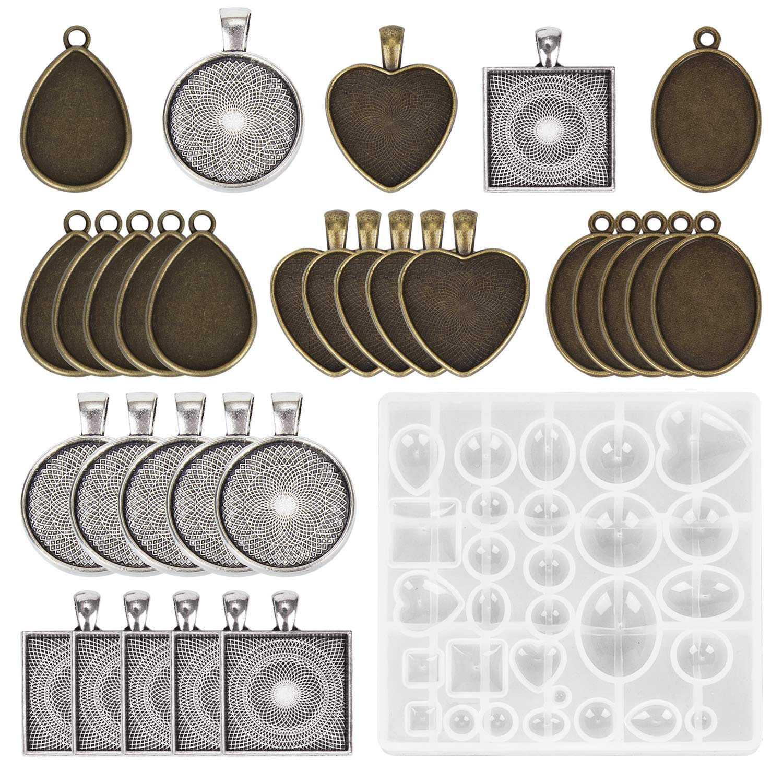 30 peças 5 estilos pingente bandejas redondo & quadrado coração & lágrima & oval, e 1 pces moldes de fundição de jóias para pendant crafting d