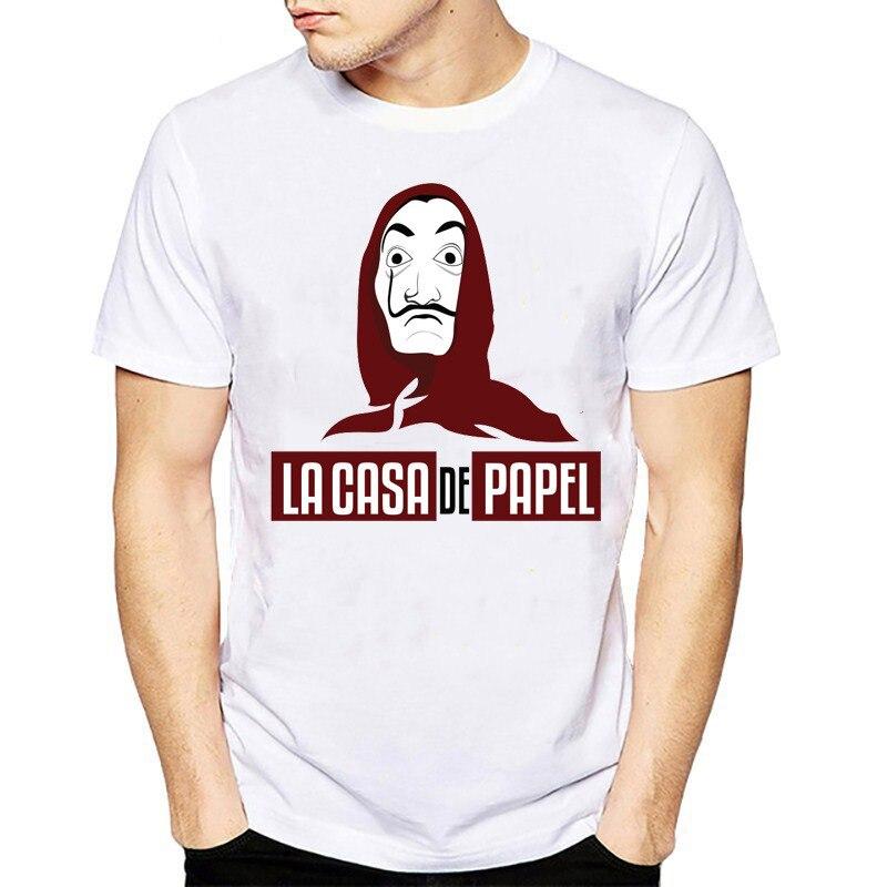 Dinheiro filme Assalto A Casa de La Casa de Papel de Papel T Shirt Homens Engraçado Dali Impressão Tshirt Dos Homens de Roupas top verão