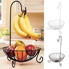 Novidade cozinha metal cesta de frutas cremalheiras de armazenamento com suporte de banana destacável gancho casa decoração da cozinha cabide titular organizador