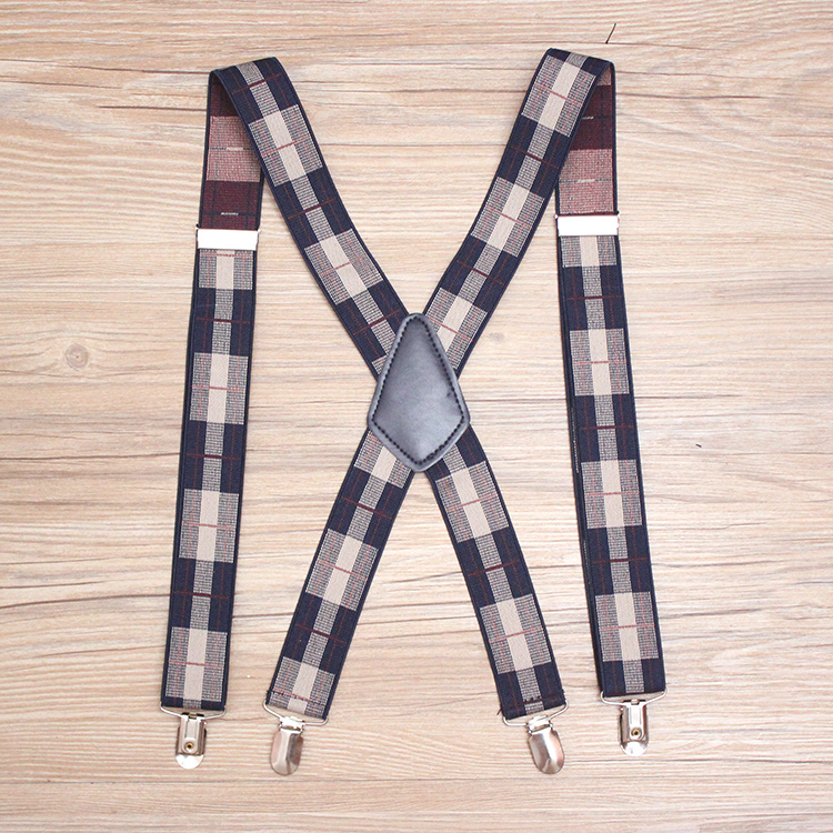 3.5*110cm 4 Clips Printed Lattice Suspenders Adult Leather Braces For Men Trousers Elastic Adjustable Suspenders