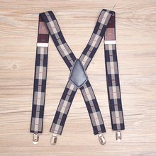 3.5*110cm 4 clips printed lattice suspenders Adult Leather Braces For Men Trousers Elastic Adjustable