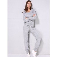 V Neck Pullover Sweater Cashmere Trousers Knitted Suit Casual Two Piece Set Woolen And Cashmere Knitted Warm Suit