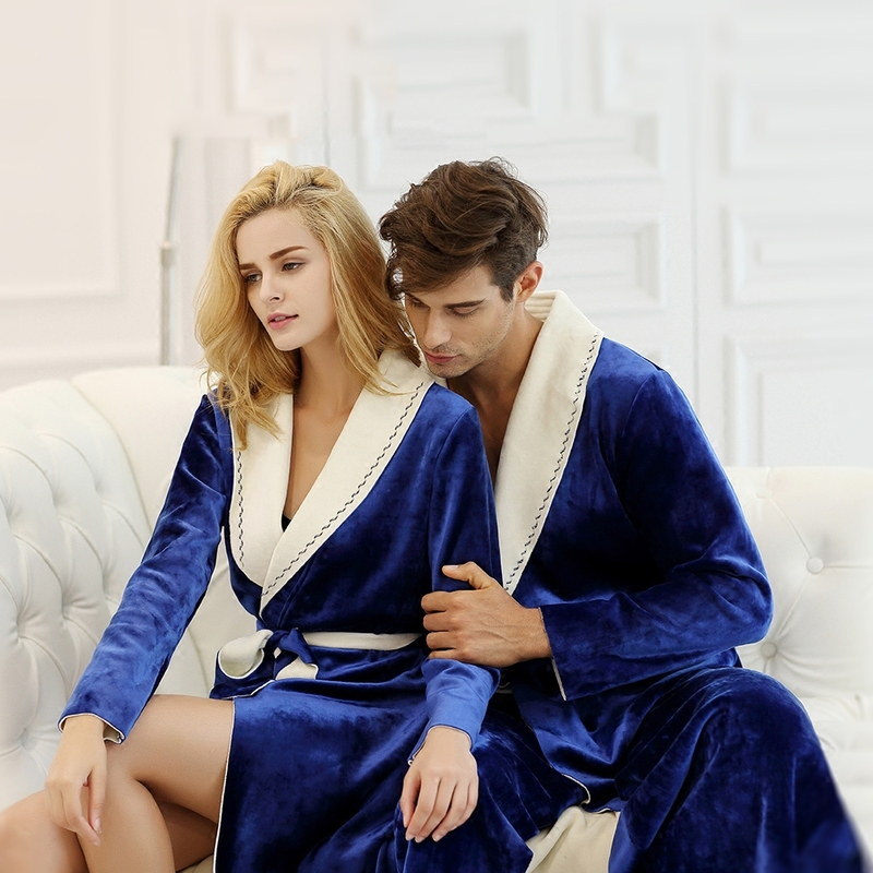 Women And Man Couples Robe Winter Long Bathrobe Male Upscale Polyester Fiber Pajamas Nightgown Sleepwear Mens And Wome Soft Robe