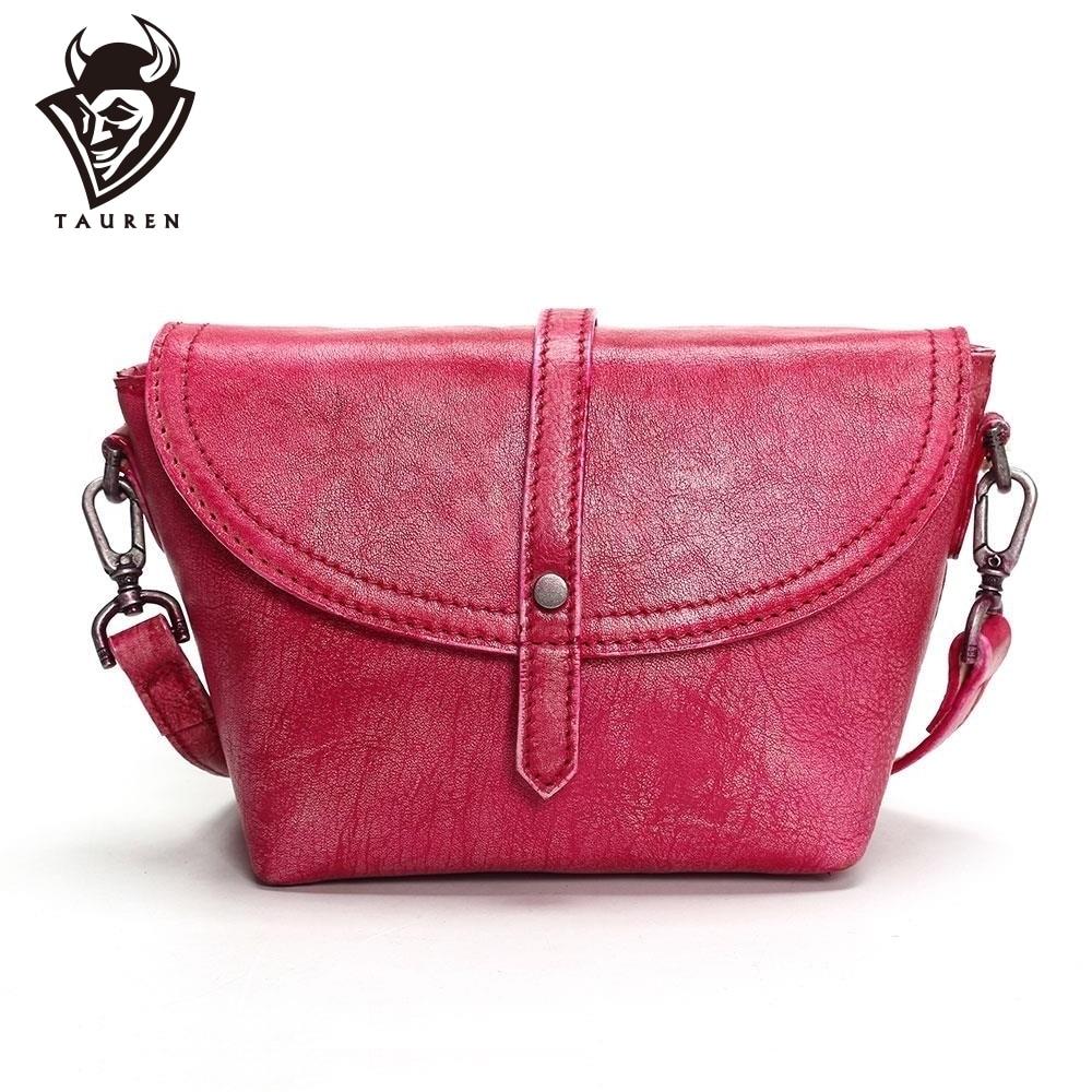 Таурены 2019 Горячая 100% натуральная кожа сумки через плечо для женщин Повседневное мини карамельный цвет сумка для девочек клапаном сумки на ...