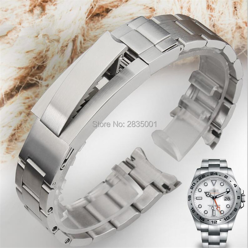 High quality 316L Stainless Steel Watchband Brushed Silver Bracelet with Glidelock Buckle 20mm 21mm for RX