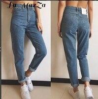 Women Casual High Waist Jeans 2018 Autumn Winter Celebrity Boyfriend Loose Mom Jeans Femme Streetwear Full Length Denim Pants