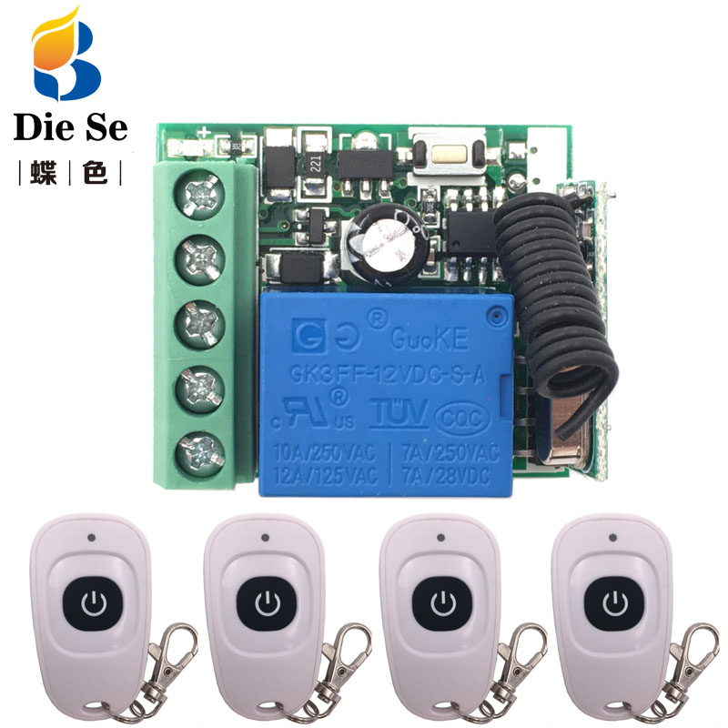 433MHz Universal Remote Control DC 12V 10A 1CH rf Relay Receiver and Transmitter for Electric curtain and garage door Control image