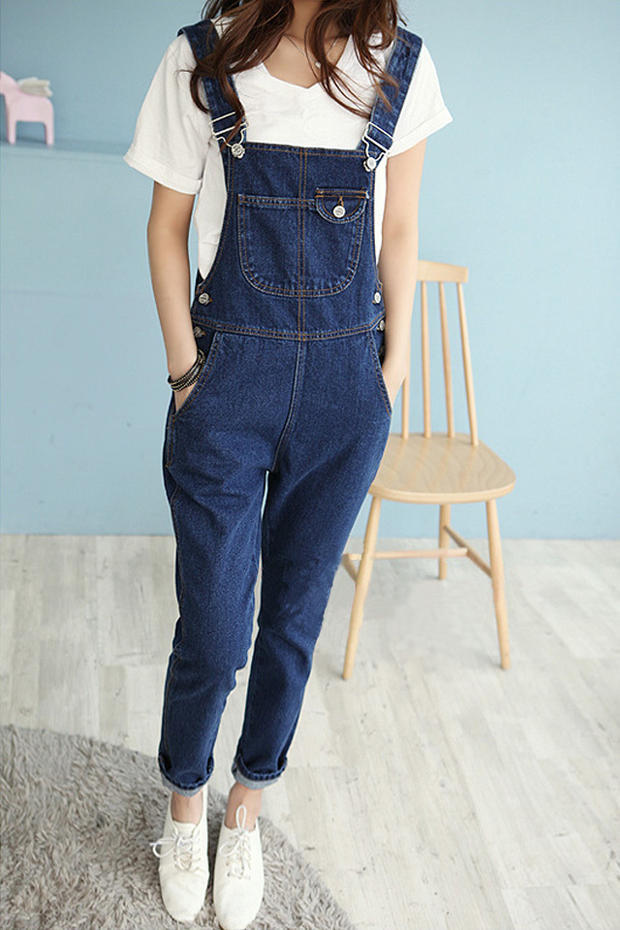 Autumn Women Solid Denim Jumpsuit Pockets New Pocket Casual Long Romper Fashion Button Loose Overalls