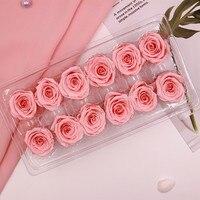 12 Главы/коробка роза цветы сохранились Искусственные цветы бессмертная роза 3 см свадебное украшение для стен искусственные розы для дома