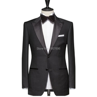 Tailor Made Black Men Suits for Wedding Prom Groom Tuxedos Peaked Lapel Slim Fit Man Suit Set 2 Piece Jacket Pants Custom Made