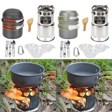 лучшая цена Outdoor Camping Pan Wood Stove Hiking Cookware Cooking Picnic Bowl Pot Pan Set Camping Cookware Outdoor Tableware Set