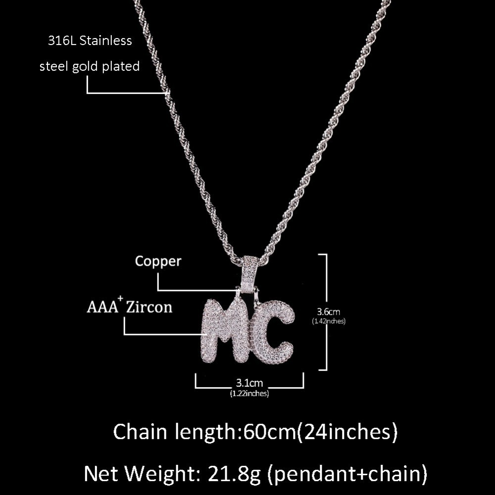 UWIN Small Custom Bubble Letters Pendant Necklace Combination Words Name With 4mm Tennis Chains Full Iced Cubic Zirconia Jewelry