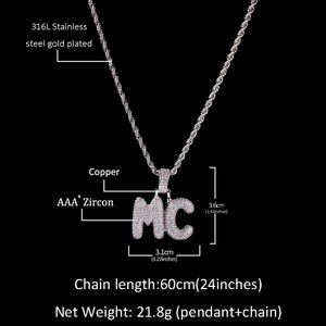 Image 2 - UWIN Small Custom Bubble Letters Pendant Necklace Combination Words Name With 4mm Tennis Chains Full Iced Cubic Zirconia Jewelry