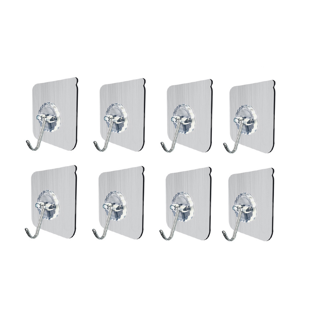 8PCS Wall Hooks Heavy Duty Reusable Adhesive Sticky Transparent No Nail Wall Ceiling Towel Bath Utility Hooks Hangers
