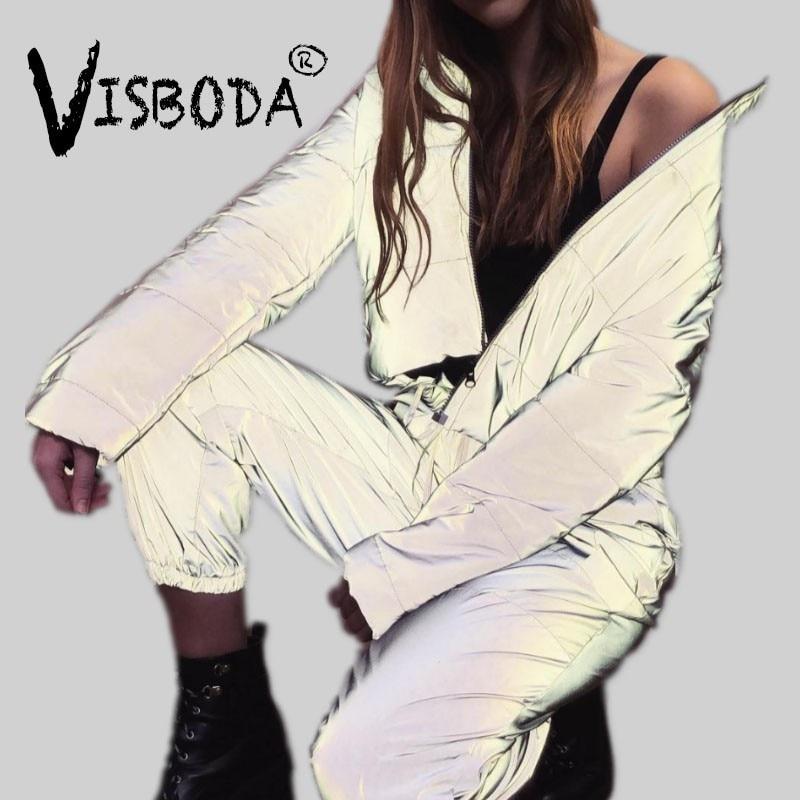 Femmes Surdimensionné Coton Recadrée Veste De Mode D'hiver Épais Pull Nuit Réflexion Manteau Ins Femelle Chaud Lâche Zipper Outwear