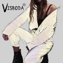 Vrouwen Oversized Katoenen Cropped Jacket Fashion Winter Dikke Trui Night Reflectie Jas Ins Vrouwelijke Warme Losse Rits Uitloper