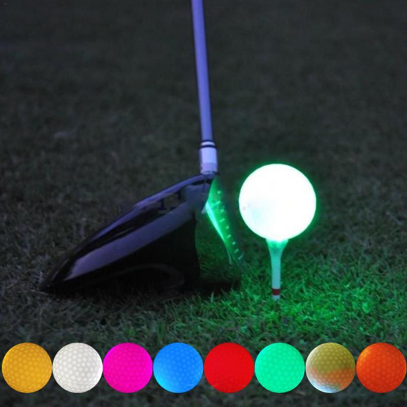 1pcs Luminous LED Golf Ball Light-up Flashing Night Light Glowing Fluorescence Golf Balls Golfing Practice Balls