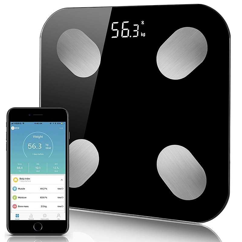 Digital Body Weight Bathroom Scale Floor With Step On Technology Bluetooth Smart Body Fat Elegant Black Measuring Tools Scales