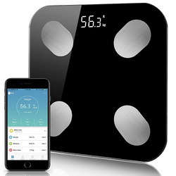 Digital Body Weight Bathroom Scale Floor With Step-On Technology Bluetooth Smart Body Fat Elegant Black Measuring Tools Scales