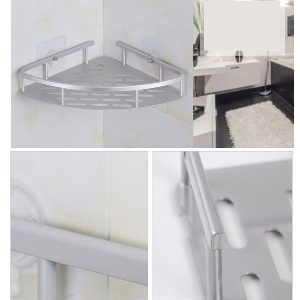 2 Pack Corner Bathroom Storager No Drilling Suction Cup Adhesive Storage Rack Hanging Shelf Toilet Tripod Wall Mounted Organizer