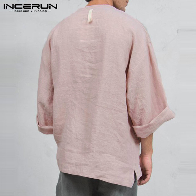 INCERUN Autumn Mens Long Sleeve T-Shirts Casual Loose Fit Deep V Neck Men Tee Tops Tunic Camisas Mens Clothing 4