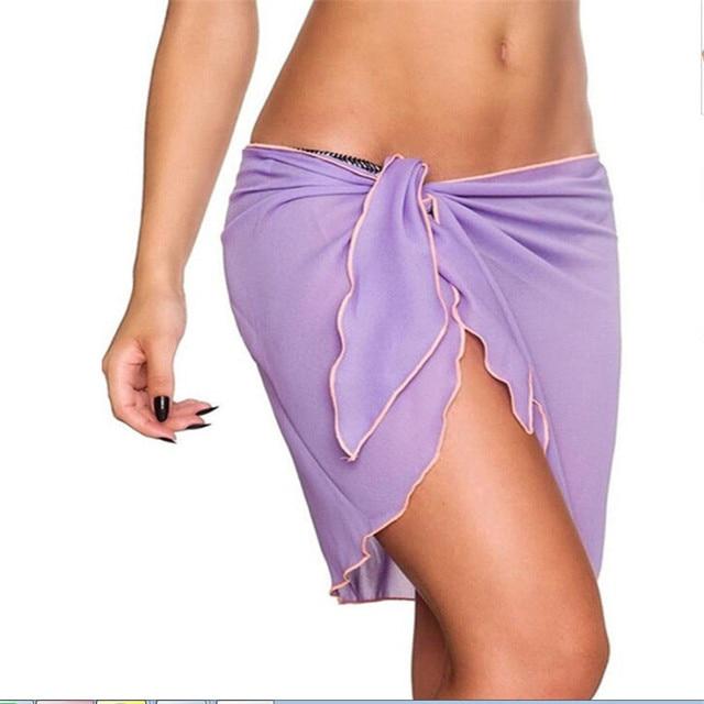 1bc857b9c8 Women Chiffon Beach Skirt Cover Up Wrap Scarf Pareo Swimwear Sarong Dress
