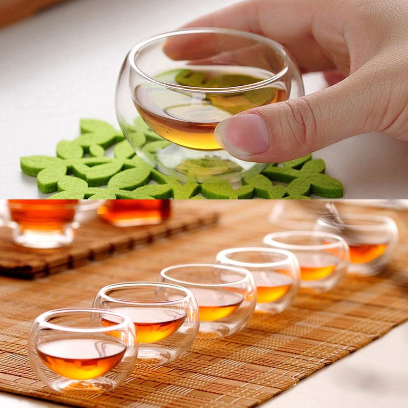 Tea-Set Transparent Glass Double-Wall-Glass Heat-Resistant Insulation 50ML 6PCS Kung-Fu