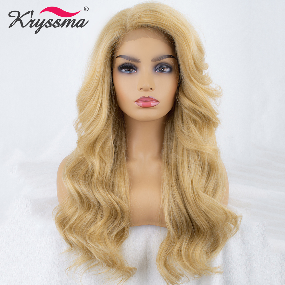 Perruques blondes pour femmes noires longues ondulées synthétiques dentelle perruques sans colle partie droite naturel à la recherche de fête 20 pouces L partie K'ryssma
