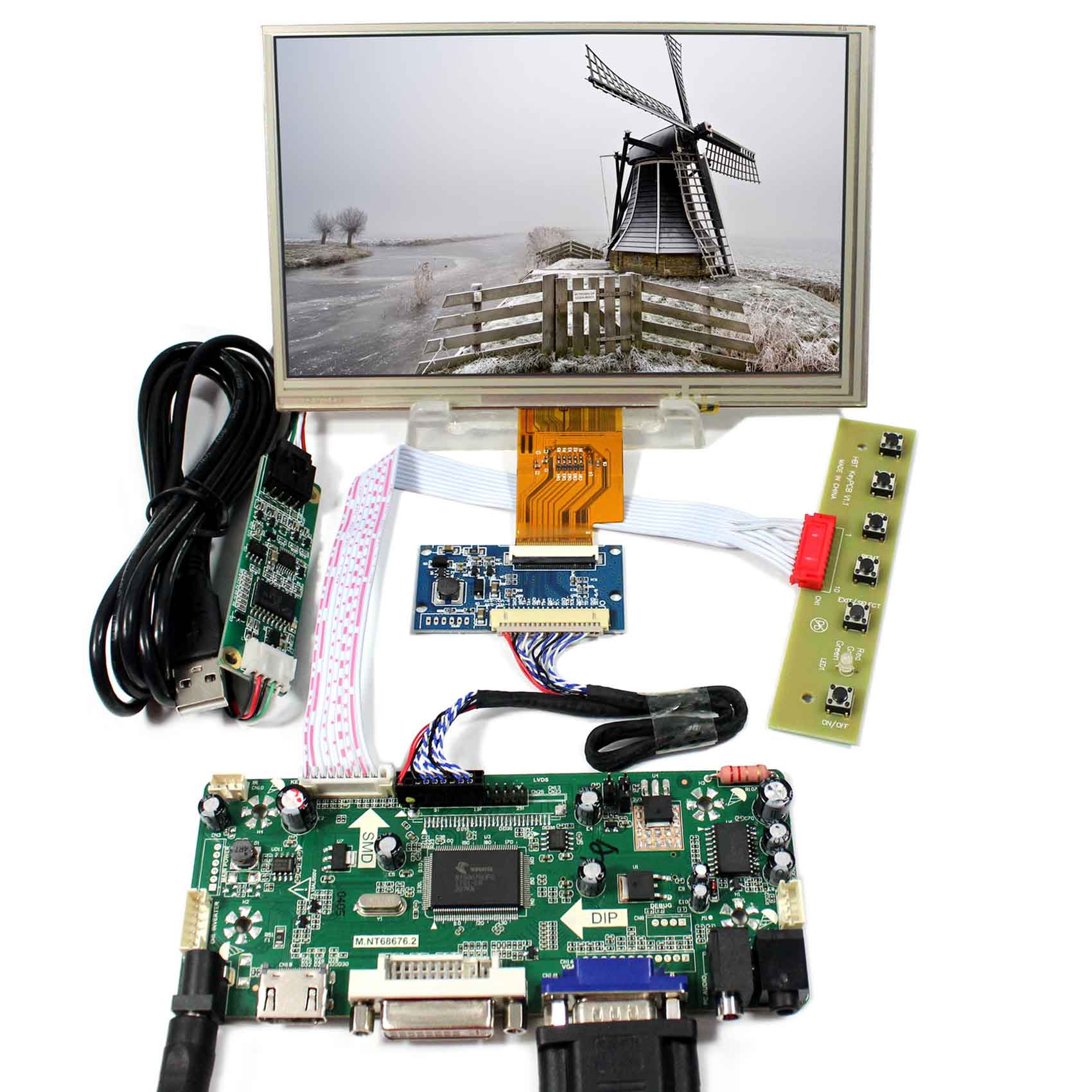 LCD Controller Board 7inch LCD Screen AT070TNA2  1024X600 TP HDMI DVI VGA LCD Controller BoardLCD Controller Board 7inch LCD Screen AT070TNA2  1024X600 TP HDMI DVI VGA LCD Controller Board