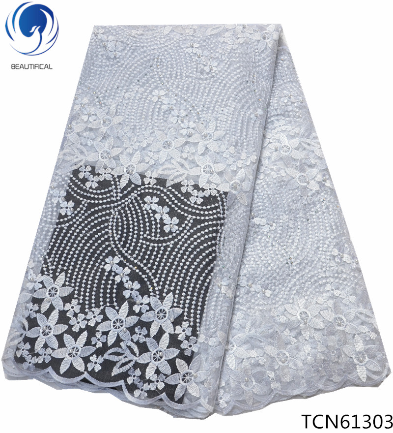 BEAUTIFICAL nigerian lace in fabric tulle lace fabric 2018 embroidery white lace fabric free shipping for women dresses TCN613BEAUTIFICAL nigerian lace in fabric tulle lace fabric 2018 embroidery white lace fabric free shipping for women dresses TCN613