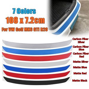 108x7.2cm 1Pc Carbon Fiber Rear Bumper Protector Sticker Trim 7 Colors For VW Golf MK6 GTI R20 Car-Styling Sticker And Decals(China)