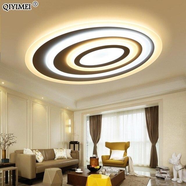 Luces Led de techo de atenuación, Control remoto, modernas, para sala de estar, dormitorio, forma ovalada, 5 tamaños, nuevas lámparas de techo de diseño
