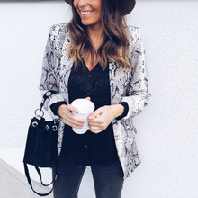 Women Casual Slim Snake Skin Solid OL Suit Business Blazer Jacket Coat