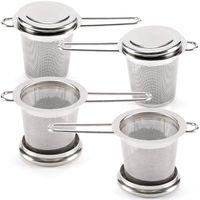 Teekugeln für Lose Blatt Tee [Set von 4] Edelstahl Feine Mesh Tee Sieb mit Griff und deckel  wiederverwendbare Tee Steilere fo-in Teesiebe aus Heim und Garten bei