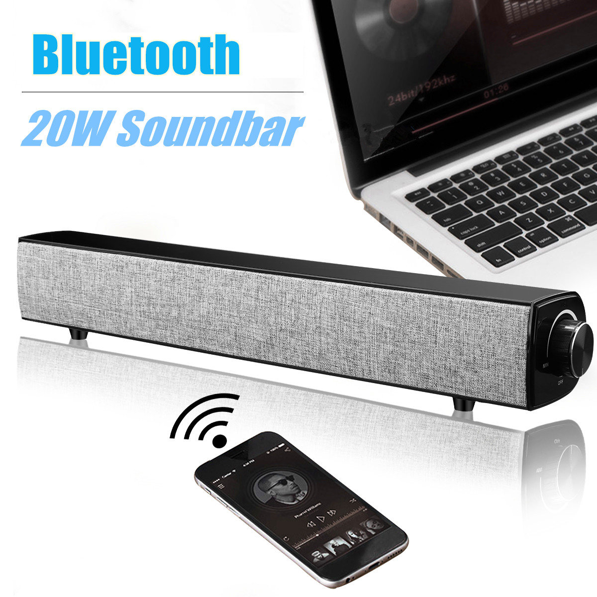 20W Hifi Bluetooth Speaker Soundbar 4000Mah Wireless Bass Stereo Family Sound Bar Subwoofer With Mic USB Aux For Computer