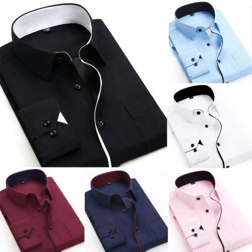 Hot Fashion Mens Luxury Shirt 2019 New Casual Slim Fit Long Sleeve Stylish Dress Shirts Top Work Office Formal Blouse