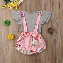 Sister Matching Floral Suspender Pinafore Dress Outfits