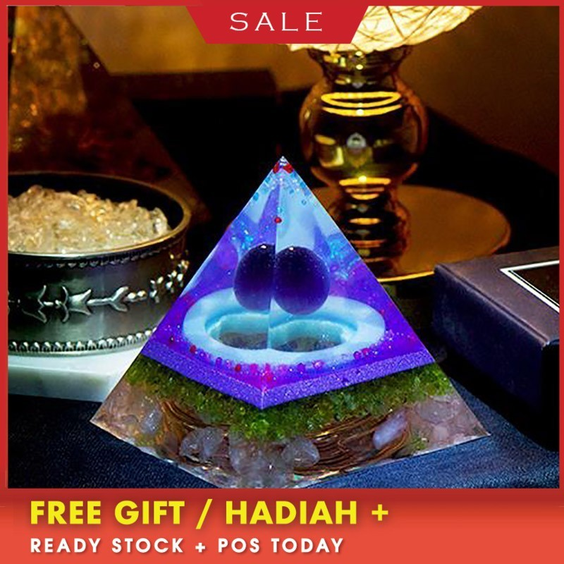 AURA REIKI Orgonite Reiki Opal Pyramid Marriage Wishing Jewelry Natural Crystal Resin Crafts Glamour Jewelry Decoration C0043