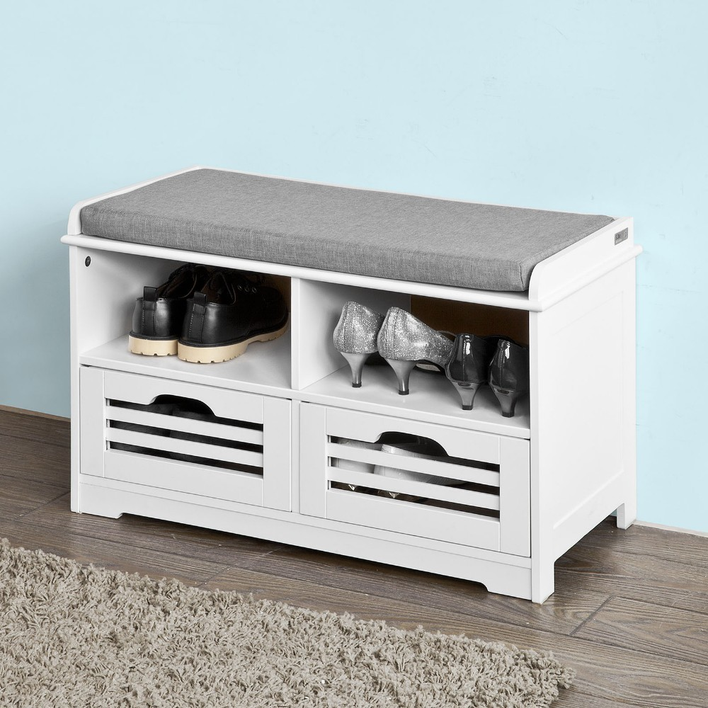 SoBuy  FSR36-K-W Shoe Storage Bench With 2 Drawers 2 Storage Cubes & 1 Removable Seat Cushion Hallway Cabinet Shoe Rack