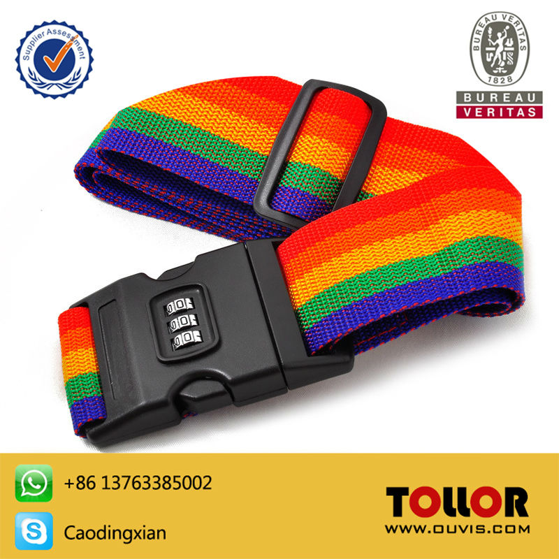 High Quality Rainbow Color Luggage Belt Packing Straps Secure Protect Password Locker 2M Baggage Belt Travel Excellent Helper