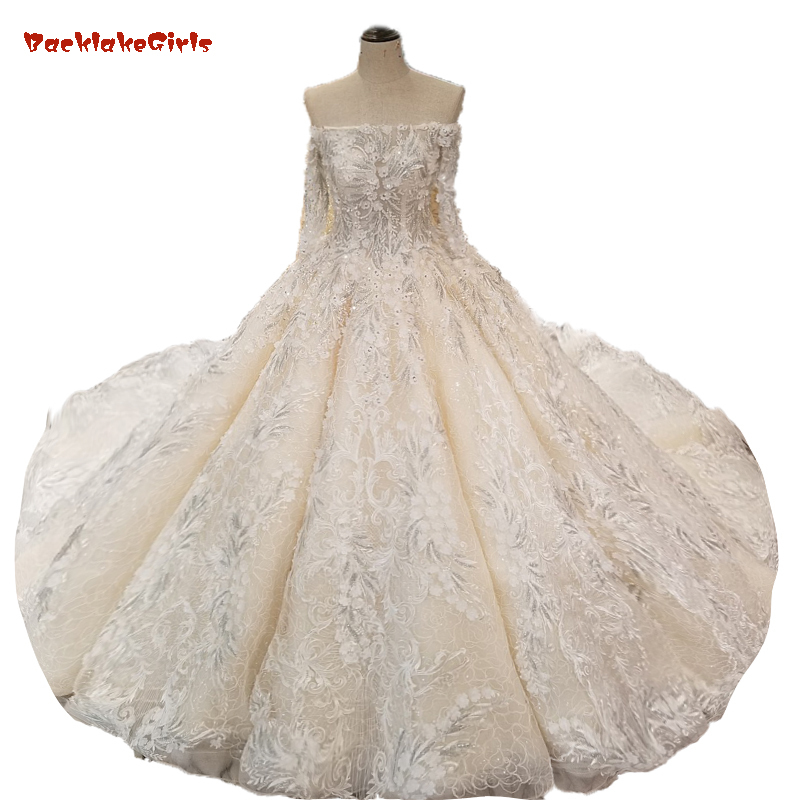 Champagne Wedding Dress Ball Gown Lace Up Back Harf Sleeves Real Photo Silver Lace Luxurious Lace Appliques Vestido Casamento