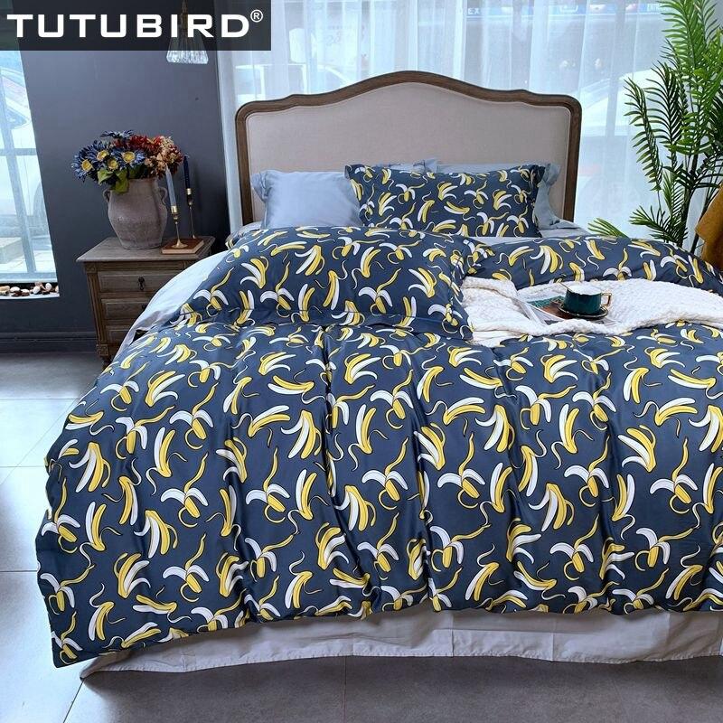 100% Luxury Egyptian cotton cartoon bedding set fruit banana print bedding set with duvet cover bedspread 2 pillowcases100% Luxury Egyptian cotton cartoon bedding set fruit banana print bedding set with duvet cover bedspread 2 pillowcases