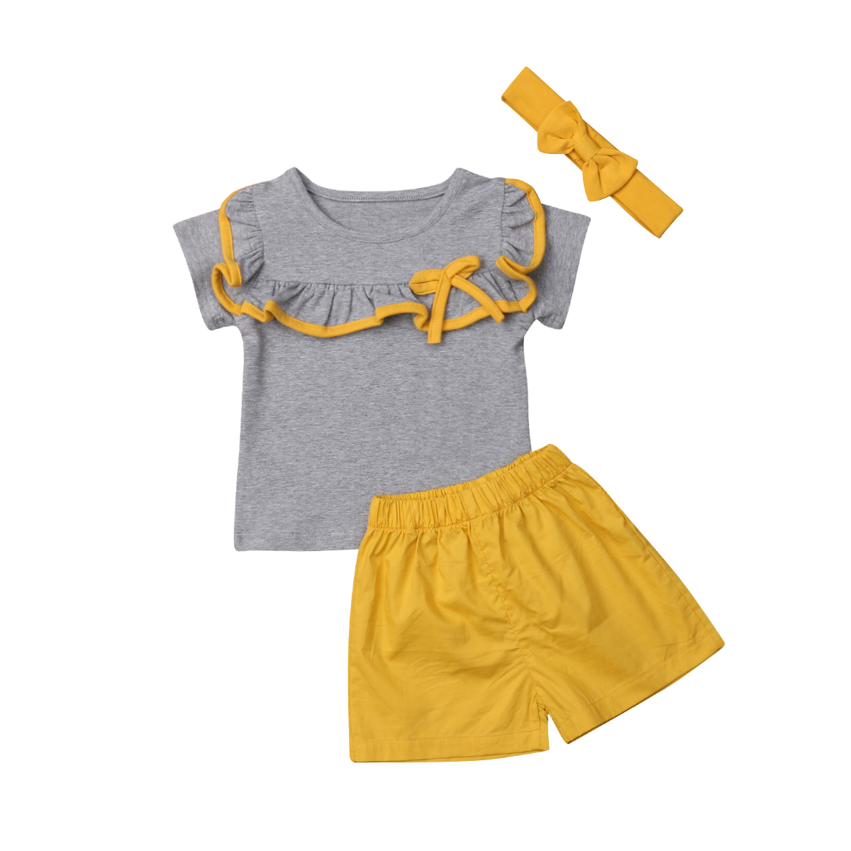 Toddler Kids Baby Girl Boys Ruffle Sister Brother Tops Shorts Matching Outfits