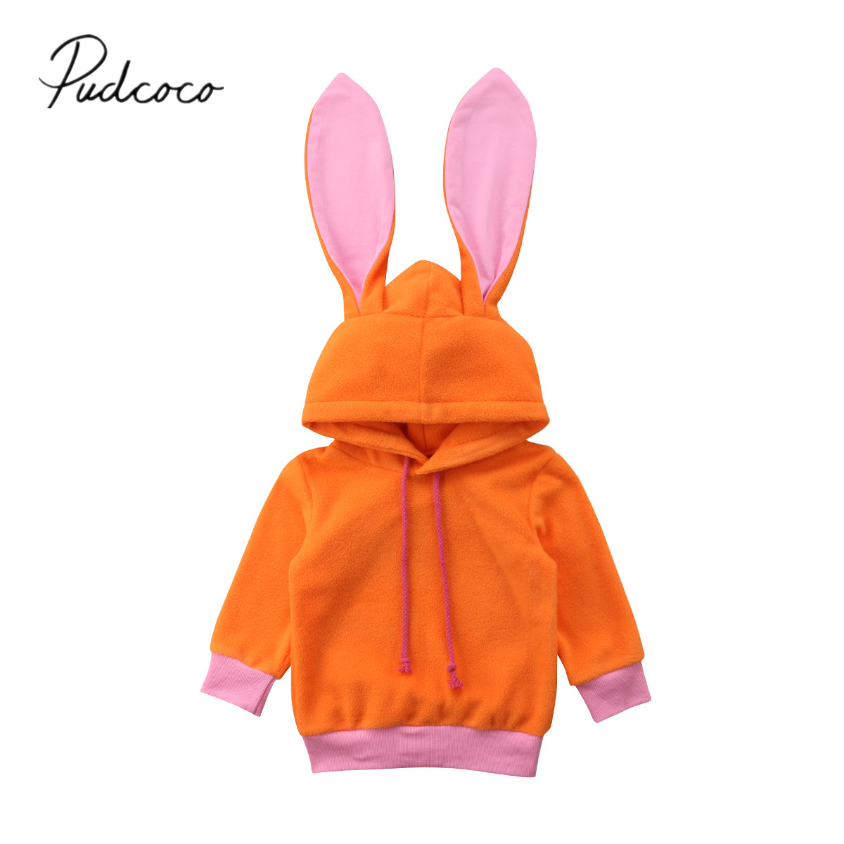 2018 Marke Neue 0-24 Mt Neugeborenen Kleinkind Baby Mädchen Herbst Warme Hoodies Tops 3d Bunny Ohren Pullover Solide Orange Mäntel Outfit Kleidung