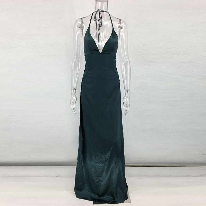 d14ee36357e ... Slip Slik Satin Backless Women Christmas Dress Prom Gowns Sexy Maxi  Dresses Halter Elegant Vestido De ...