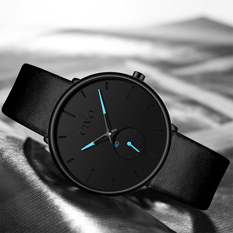 CIVO Mens Watches Elegant Sport Waterproof Wristwatch Ultra Thin Leather Band Male Quartz Watches Clock Relogio Masculino in Quartz Watches from Watches