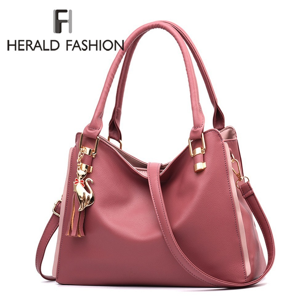 Herald Fashion Women Handbags Leather Female Shoulder Bag Casual Tote Crossbody Bag Top-handle bag With Tassel And Cat PendantHerald Fashion Women Handbags Leather Female Shoulder Bag Casual Tote Crossbody Bag Top-handle bag With Tassel And Cat Pendant
