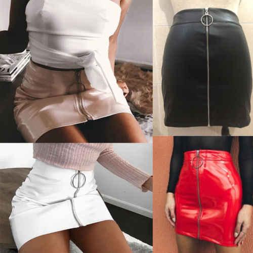 46dc3961fe Detail Feedback Questions about 2019 New Women PU Leather Mini Skirt High  Waist Plain Flared Skirt Short Sexy Zipper Party Evening Fashion Ladies  Femme ...
