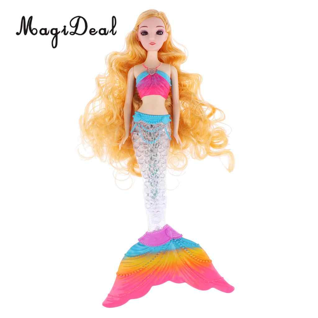 Мода Принцесса Кукла длинные вьющиеся волосы Русалка модель с радугой светодиодный хвост для детей подарок на день рождения